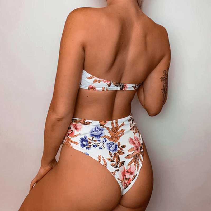 Cutout Thong Bottom Smocked Tube Bikinis