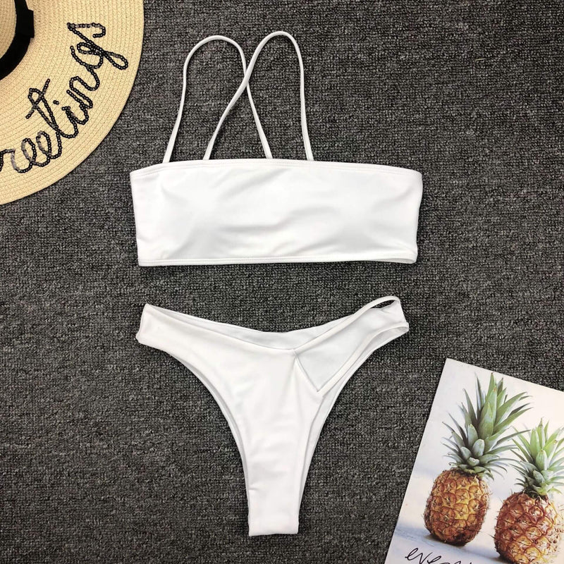 One Shoulder Cutout Mid Rise Thong Bottom Bikinis