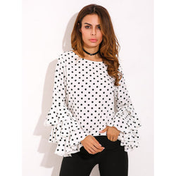 Polka Dot Long Trumpet Sleeves Chiffon Blouse