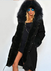 Zipper Hooded Faux Fur Cuff Long Cotton Coat - Meet Yours Fashion - 5