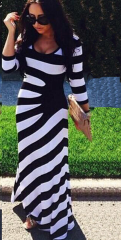 Striped 3/4 Sleeve Scoop Irregular long Dress - Meet Yours Fashion - 1