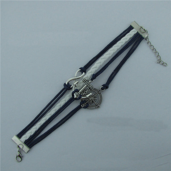 Compass Anchor Handmade Multilayer Woven Bracelet