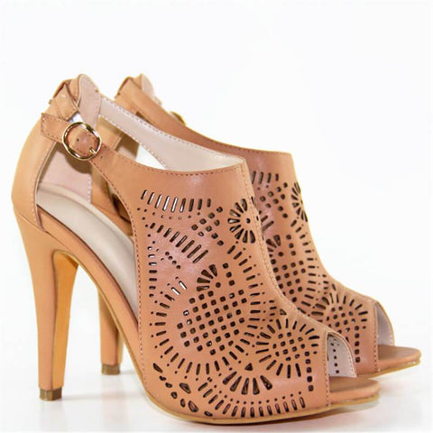Peep Toe Buckle Open Toe Cutout Sandals