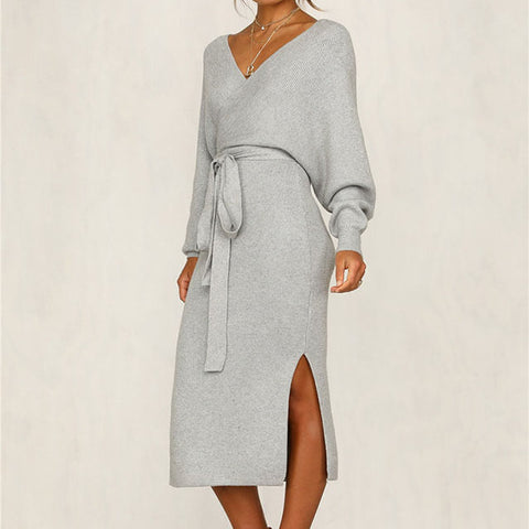 Tight V Neck Knit Wrap Dress
