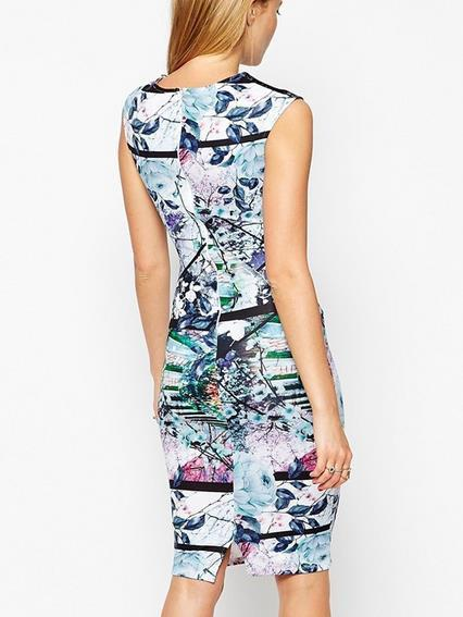 Sexy Digital Print Sleeveless Bodycon A-line Scoop Knee-length Dress - Meet Yours Fashion - 4