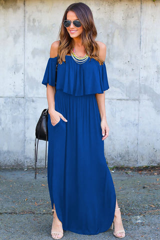 Strapless Half Sleeves Ruffles Irregular Long Dress