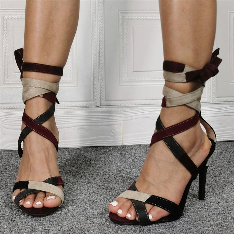 Multi Suede Ankle Strap High Heel Sandals