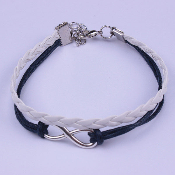 Simple Fashion Black White Hand-made Leather Cord Bracelet