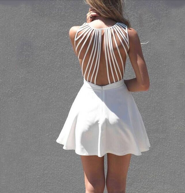Sleeveless Straps Hollow Out Dress