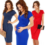 V-Neck Short Sleeves Knee-Length Pregnant Dress - MeetYoursFashion - 1