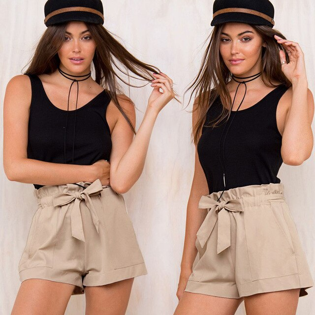 Flapper Strap Plain High Waist Short Pants