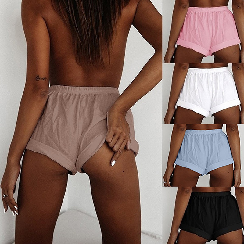 Plus Size Solid High Waist Loose Short Pants
