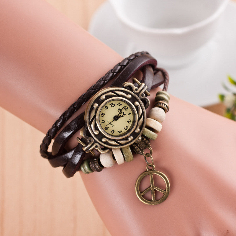 Peace Mark Multilayer Bracelet Watch