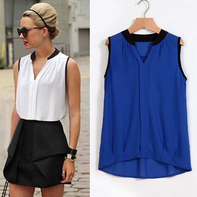 V-neck Patchwork Sleeveless Brief Slim Chiffon Blouse - Meet Yours Fashion - 1