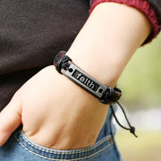 Retro Faith Leather Bracelet