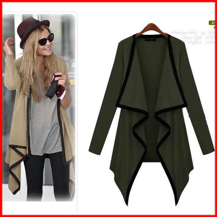 Lapel Long Sleeves Irregular Loose Long Outerwear - Meet Yours Fashion - 4