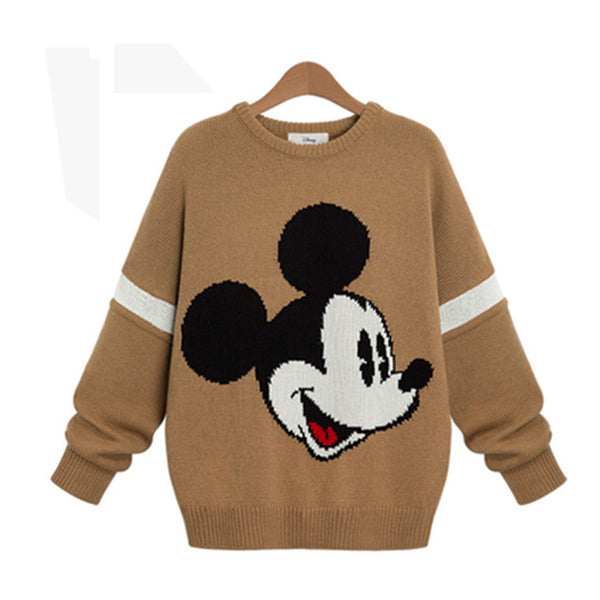 Embroidery Contrast Color Pullover Scoop Knit Sweater