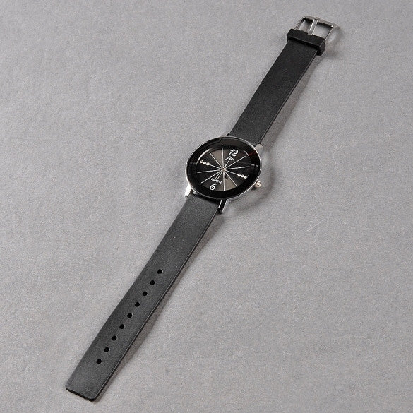 Hot Men Fashion Leisure Wrist Watch Black Synthetic Leather Belt