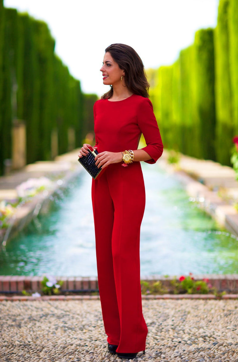 Pure 3/4 Sleeves Scoop Brief Slim Backless Long Jumpsuits - Meet Yours Fashion - 5
