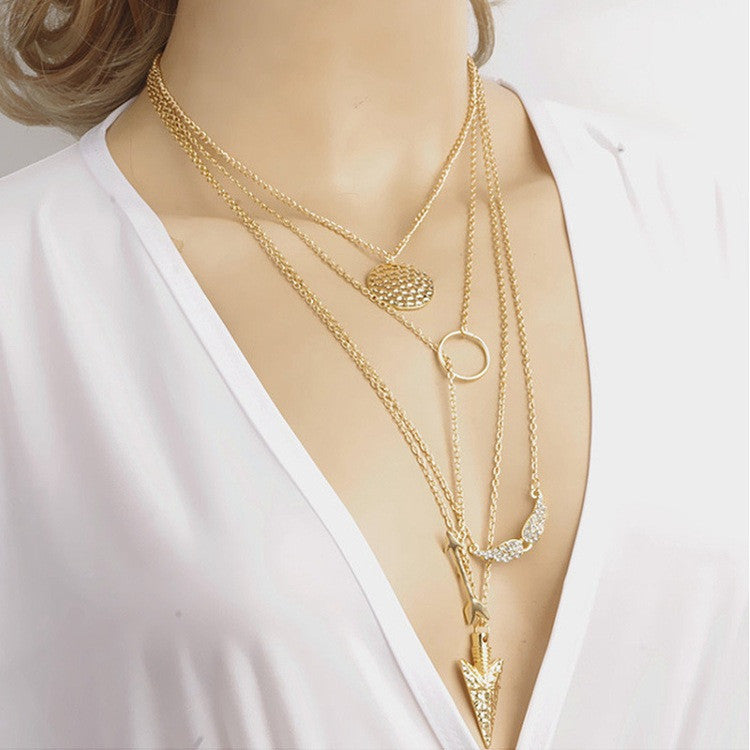 Irregular Triangle Pendant Layered Necklace - MeetYoursFashion - 4