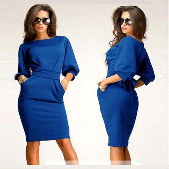 Unique Puff 3/4 Sleeves Bodycon Knee-length Casual Dress - MeetYoursFashion - 1