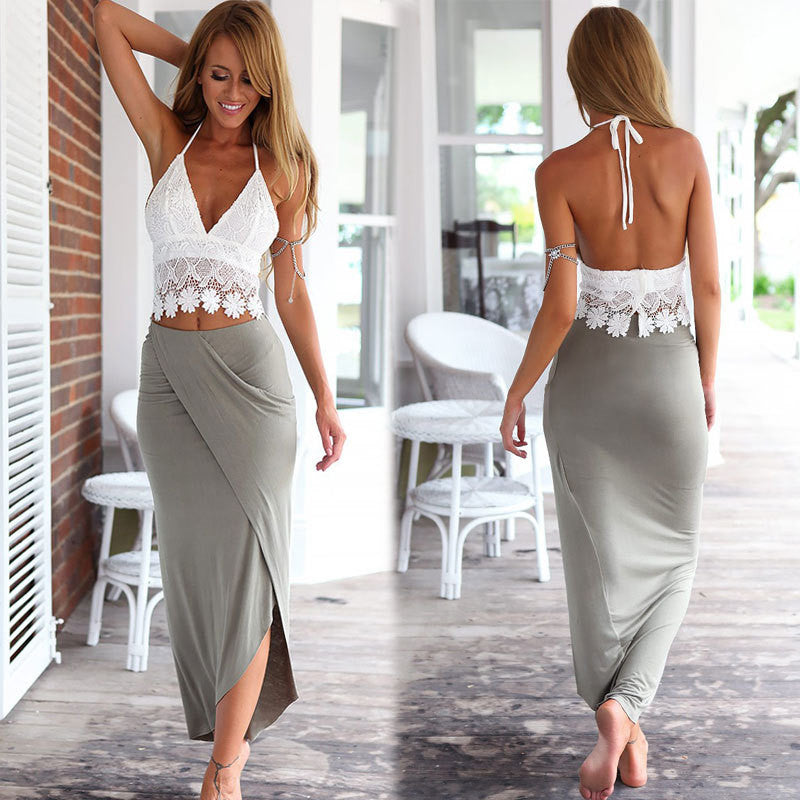 Lace Halter Backless Crop Top with Irregular Long Skirt Dress Suit - Meet Yours Fashion - 2