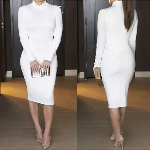 High Neck Long Sleeves Bodycon Pure Color Party ClubDress - MeetYoursFashion - 4