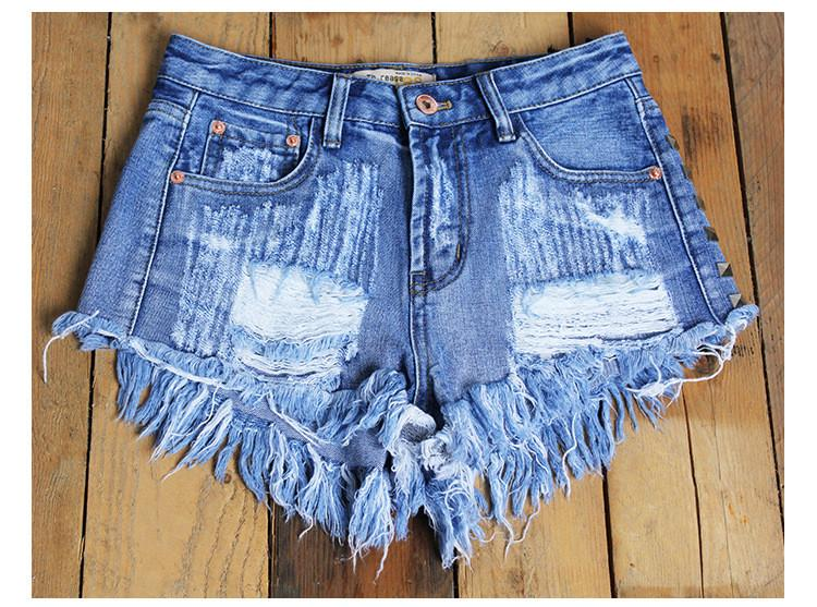 Rivet Rough Edges Loose Ripped Holes Hot Denim Shorts - Meet Yours Fashion - 2