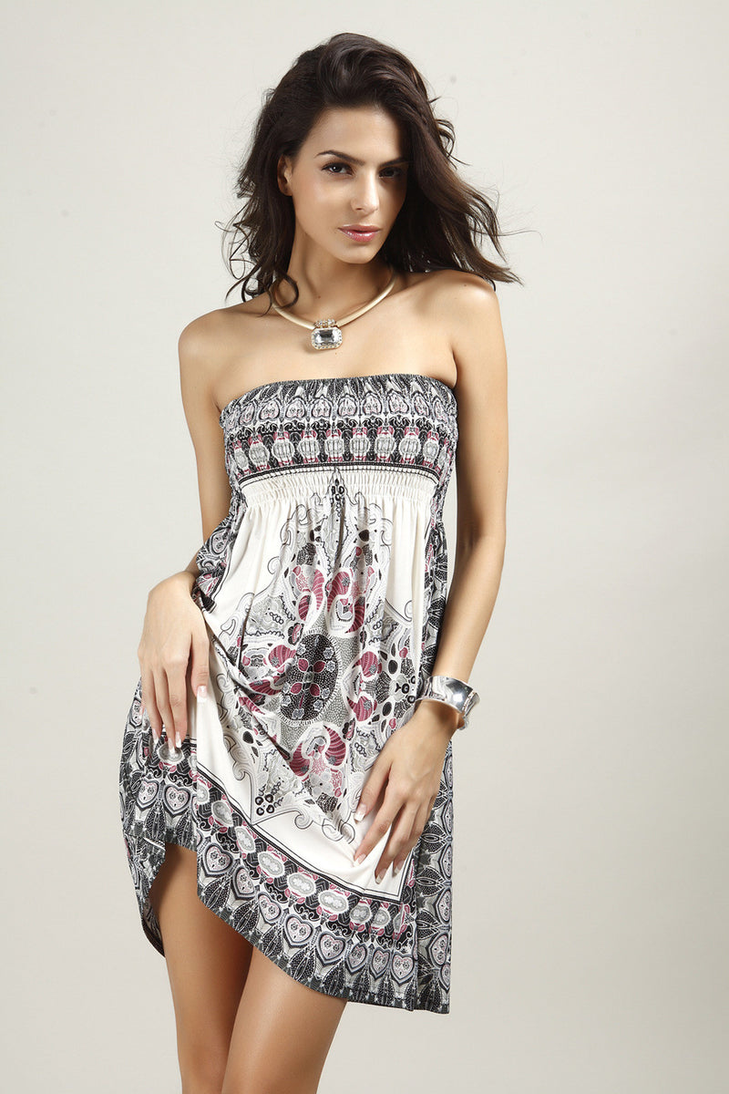 Fashion Strapless Floral Print Pleated Short Dress