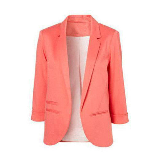 Candy Colors 7/10 Sleeves Slim British Style Short Coat - Meet Yours Fashion - 8