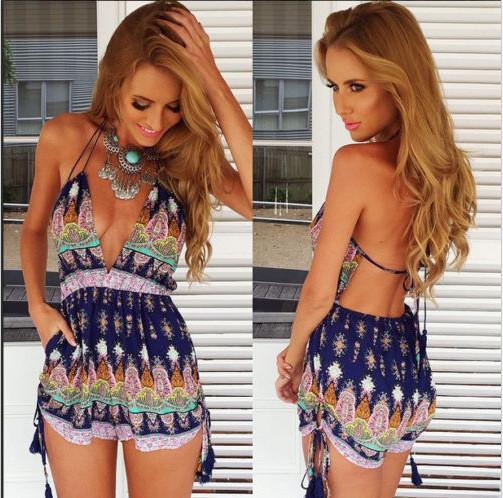 Flower Print Halter Sleeveless Backless Short Jumpsuit - Meet Yours Fashion - 2