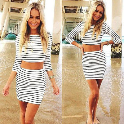 Fashion Long Sleeves Crop Top Striped Stretch Skirt Dress Set