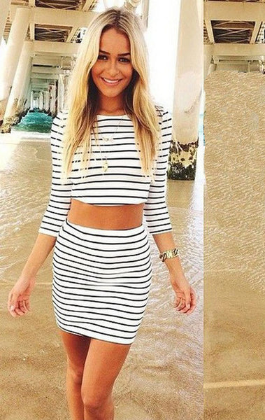 2018 Fashion Long Sleeves Crop Top Striped Stretch Skirt Dress Set