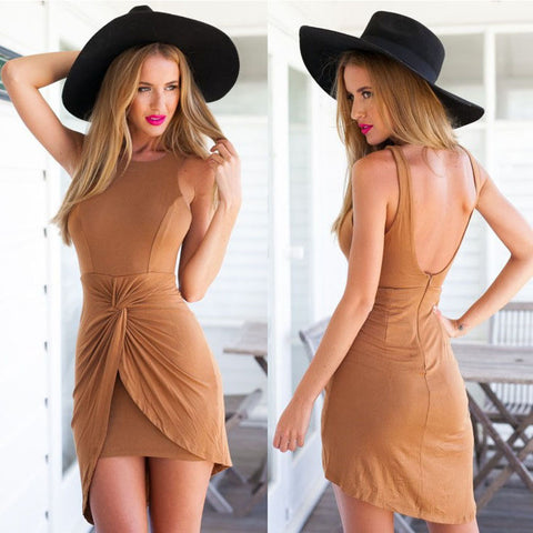 Sleeveless Irregular Backless O-neck Pure Color Short Tank Dress