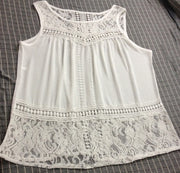 Sleeveless Scoop Lace Patchwork Spilt Crochet Blouse - Meet Yours Fashion - 5