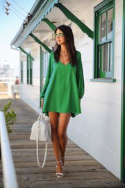 V-Neck Split Long Sleeve Chiffon Loose Short Dress - MeetYoursFashion - 12