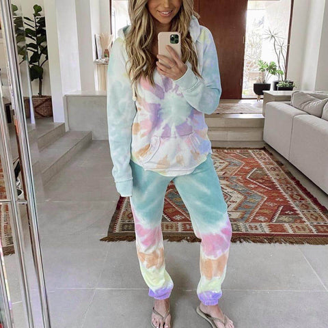 Casual Tie Dye Loose High Waist Hooded Pocket Two Pieces Set