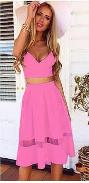 Spaghetti Strap Patchwork Crop Top with Long Skirt Two-piece Dress - MeetYoursFashion - 9