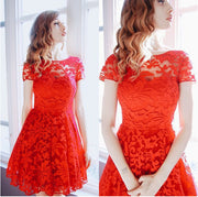 Fashion A-line Hollow Out Lace Knee-length Dress - MeetYoursFashion - 4