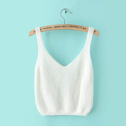 Knitting Spaghetti Strap V-neck Pure Color Vest - Meet Yours Fashion - 2
