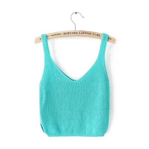 Knitting Spaghetti Strap V-neck Pure Color Vest - Meet Yours Fashion - 8