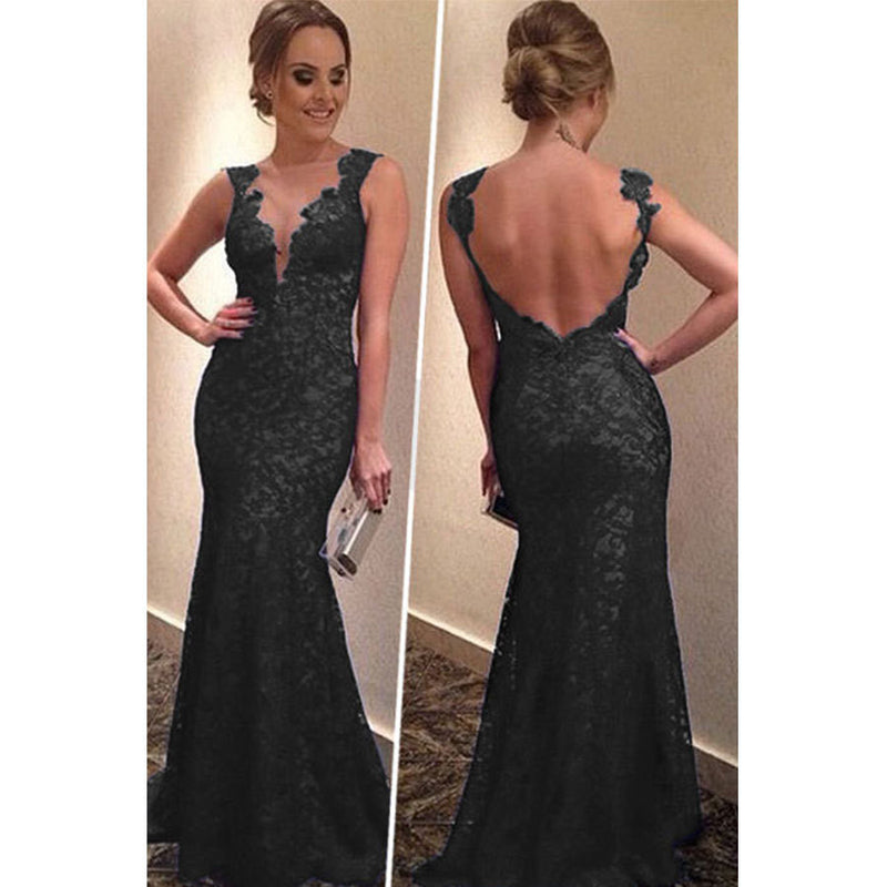 Backless Women's V-neck Formal Long Dress - MeetYoursFashion - 3