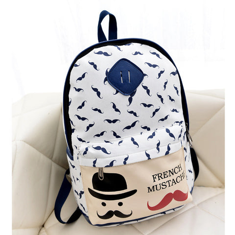 Mustache Print Fashion Backpack School Bag - Meet Yours Fashion - 1