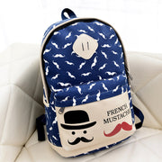 Mustache Print Fashion Backpack School Bag - Meet Yours Fashion - 4