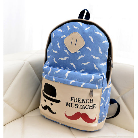 Mustache Print Fashion Backpack School Bag - Meet Yours Fashion - 5