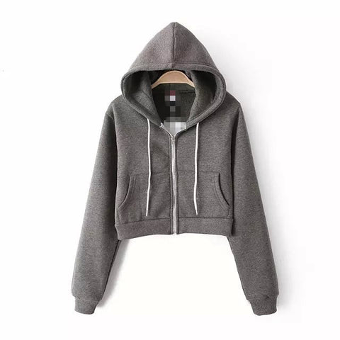 Slim Zipper Cardigan Short Solid Color Hoodie - Meet Yours Fashion - 4