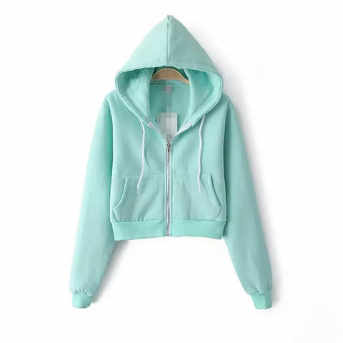Slim Zipper Cardigan Short Solid Color Hoodie - Meet Yours Fashion - 6