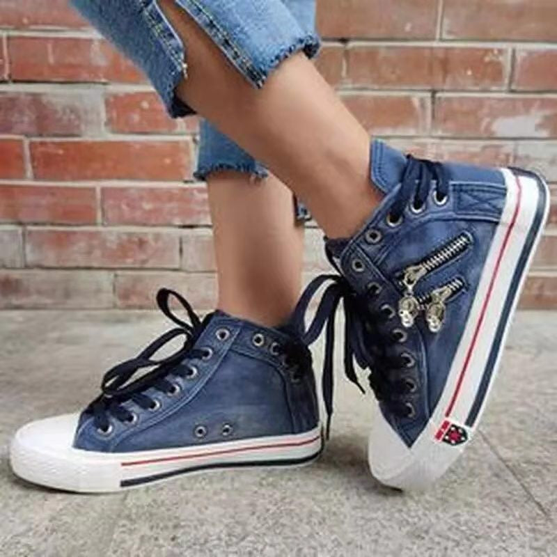 Women'S Denim High-Top Back Lace-UP Design Canvas Sneakers Shoes