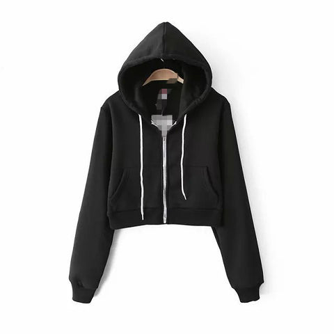 Slim Zipper Cardigan Short Solid Color Hoodie - Meet Yours Fashion - 5