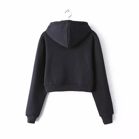 Slim Zipper Cardigan Short Solid Color Hoodie - Meet Yours Fashion - 7